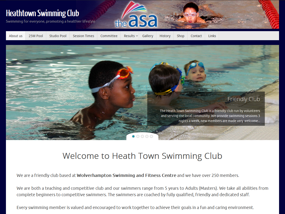 Budget website for Heath Town Swimming Club by Black Country Websites