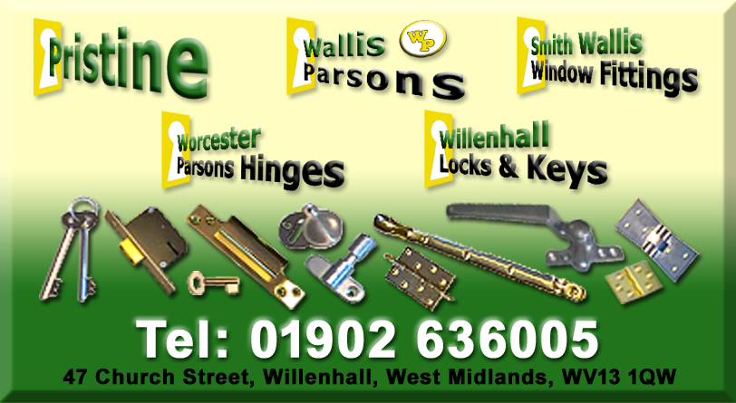 Branding Design for Pristine, Smith Wallis Window Fittings, Wallis Parsons, Worcester Parsons Hinges and Willenhall Locks and Keys.